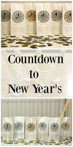 Countdown to New Year's using bags marked with clocks for every hour