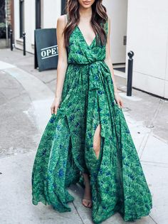 f430baa67 Green Bohemia Sleeveless Printed Maxi Dress – oshoplive Peinados, Vestidos,  Moda, Favoritos,