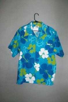 Mens Hawaiian Shirt // Floral // Barkcloth // PACIFIC by lindaowen, $24.00
