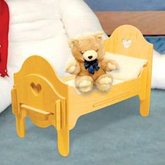 """Doll Furniture Bed DIY Woodcraft Pattern #2012 - Easy to assemble. No tools or hardware required. Just slide the pieces together for a sturdy attractive bed for your dolls. 13""""H x 24""""W x 11""""D. Pattern by Sherwood Creations #woodworking #woodcrafts #pattern #doll #craft #furniture #bed"""