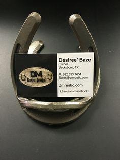 Custom Horseshoe business card holder by DM Rustic Design