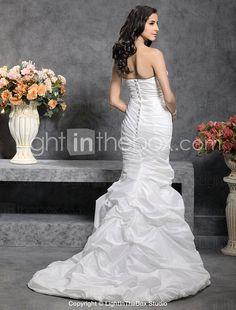 Trumpet/ Mermaid Sweetheart Court Train Taffeta Wedding Dress - US$ 199.99