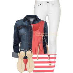 """Kate Spade Denim & White Pant"" by casuality on Polyvore"
