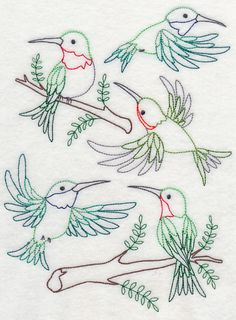 Machine Embroidery Designs at Embroidery Library! Diy Embroidery Patterns, Ribbon Embroidery Tutorial, Embroidery On Clothes, Bird Embroidery, Embroidery Transfers, Beaded Embroidery, Cross Stitch Embroidery, Machine Embroidery Designs, Beginning Embroidery