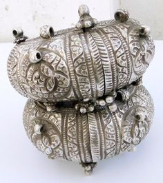 antique ethnic tribal old silver anklet bangle armlet  pair