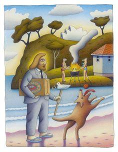 Beach Holiday by Reg Mombassa. Signed limited edition print - buy now from The SMH Shop. Australian Painters, Australian Art, National Art School, Surf Design, Ex Machina, Beach Holiday, Aboriginal Art, Dog Art, Creative Director