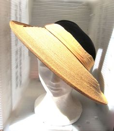 1950 s Saks Fifth Avenue Black and Peach Hat by VestraVintageVita d4e36fe9a93