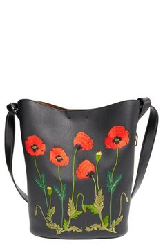 Stella McCartney 'Alter Nappa' Embroidered Poppy Faux Leather Bucket Bag available at #Nordstrom