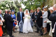 George Spencer-Churchill, and his childhood sweetheart Camilla Thorp, tied the knot at St Mary Magdalene Church in Woodstock today and were showered in confetti after the ceremony. Churchill, Camilla, Woodstock, St Mary Magdalene Church, Wedding Styles, Wedding Photos, Royal Marriage, Blenheim Palace, Royal Weddings