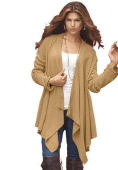 Amazon.com: Denim 24/7 Women's Plus Size Hankie Cardigan (Camel,1X): Clothing