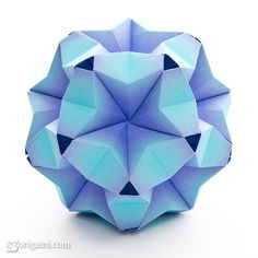 "Fuufuki Asagao kusudama by Tomoko Fuse. Published in ""Unit Origami Fantasy"". Description and photos."