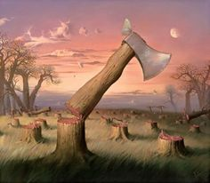 Red Wood Cutting - Surrealism by Vladimir Kush