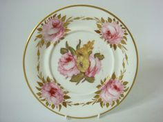 WELSH PORCELAIN POSSIBLY SWANSEA FINE ROSES PAINTED PLATE C1820.