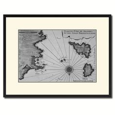 Sicily West Aegadian Islands Vintage B&W Map Canvas Print, Picture Frame Home Decor Wall Art Gift Ideas