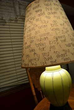 I bought this lamp for one dollar! All it needed was a little paint, a light bulb, and a sharpie.