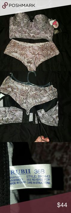 NWT Rubii Purple & White Tiger Lingerie set Brand new! Beautiful print! Multi way bra in a corset design with ribbing on sides. Black Straps can be interchangeable or removed. Clear straps are attached to tags as well. Neck strap can be worn loose or tightened with embellished slider piece. Nylon/spandex material  I love this set as well, but the bra is too small of a size I am now. Rubii Intimates & Sleepwear