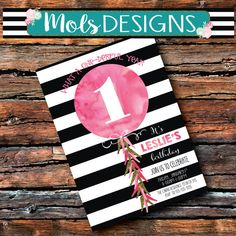 Any Color BALLOON FIRST BIRTHDAY 1st 2nd 3rd Little Girl Simple Pink Vintage Black White Stripe 13th 21st 30 Baby Bridal Shower Invitation