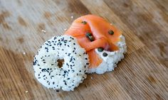 Throw a DIY Breakfast Sushi Party: Make Bagels with Cream Cheese and Lox Diy Sushi, Sushi Party, Homemade Breakfast, Breakfast Recipes, International Sushi Day, Breakfast Sushi, Mini Doughnuts, Brunch Party, Asian