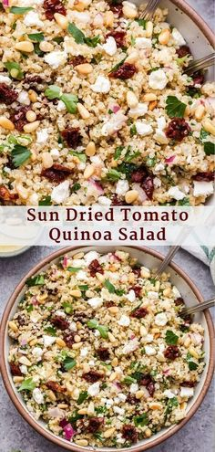 Mar 2020 - This Sun Dried Tomato Quinoa Salad is so easy to make and full of Mediterranean flavor! It's healthy, naturally gluten free and perfect to make when you need a quick side dish to serve with dinner. Shrimp Salad Recipes, Easy Pasta Salad Recipe, Quinoa Salad Recipes, Pasta Recipes, Healthy Recipes, Quinoa Dishes, Quinoa Recipe, Quinoa Bowl, Chickpea Salad
