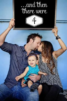 30+ Fun Photo Ideas to Announce a Pregnancy - And Then There Were Four Chalkboard Announcement