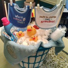 Repurposing laundry baskets: make a washing machine for kids, use as a bassinet and a bath tub, keep in your car to carry in groceries, etc. #babygiftbaskets