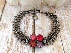 Contemporary Reds, Swarovski Bracelet, Shades Of Red, Modern, Antique Silver, 8MM, DKSJewelrydesigns
