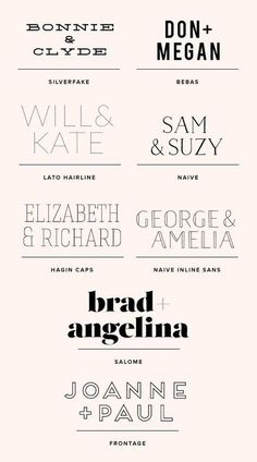 Cute way to look at #fontpairing. Love bonnie and clyde
