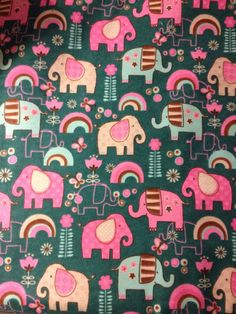 FLANNEL  Elephant Fabric  Elephants on Teal Fabric by Crazy4Claire