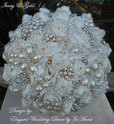 Items similar to IVORY AND GOLD Jeweled Bouquet- Deposit for a Custom Made Jeweled brides Bouquet, Gold Bouquet, Custom Jeweled Bouquet, brooch Bouquet on Etsy Broch Bouquet, Wedding Brooch Bouquets, Diy Bouquet, Wedding Headband, Bride Bouquets, Flower Bouquet Wedding, Wedding Flower Arrangements, Bling Wedding, Floral Arrangements