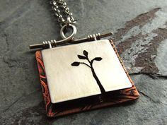 Tree Necklace 3D Copper Nickel Silver Pendant by ATwistOfWhimsy, $54.00