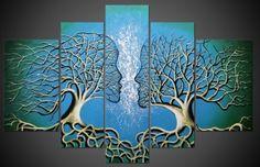 TM5A5002 - Schilderij 5 luik 100x180 Love Tree | Schilderijenshop
