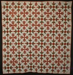 Turkey Tracks Quilt: Circa Pennsylvania Turkey Tracks combined with an unusual appliqued pattern Old Quilts, Antique Quilts, Vintage Quilts, Turkey Tracks, Artisan Works, Primitive Quilts, Green Quilt, Selling Antiques, Vintage Fashion