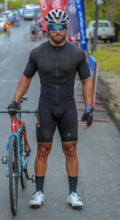 Cycling Lycra, Cycling Wear, Cycling Shorts, Cycling Outfit, Men's Cycling, Scruffy Men, Hairy Men, Bearded Men, Black Muscle Men
