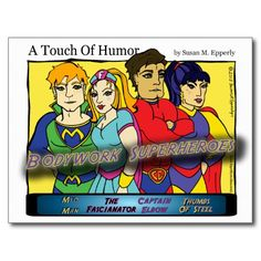 """A Touch of Humor"" Super Massage Heroes Comic http://www.zazzle.com/TigerLilyStudios?rf=238891780775066757"