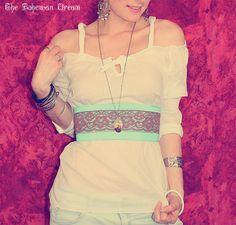 Bohemian waist belt aqua blue silk brown lace Boho Hippie Gypsy style One of a Kind by TheBohemianDream