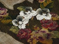 Antique Needlepoint Slipper Design Tapestry Remnant by ohmymilky