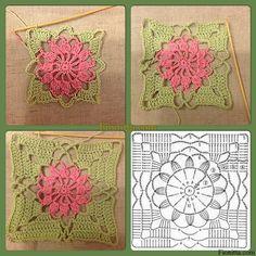 Crochet Flowers Ideas Crochet flower square pattern by renee Crochet Flower Squares, Granny Square Crochet Pattern, Crochet Diagram, Crochet Stitches Patterns, Crochet Chart, Crochet Motif, Crochet Doilies, Crochet Flowers, Afghan Patterns