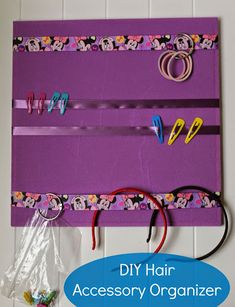 Easy DIY Hair Accessory Organizer for kids' hair bows, headbands and hair clips. No tools and no glue gun needed! Done in under 15 minutes.