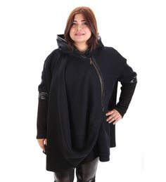 Дамско палто с нестандартна кройка / Plus size coat in dark blue