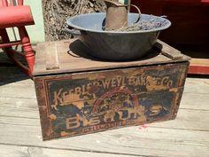 Vintage Antique Wooden Keebler Crate 1900s.