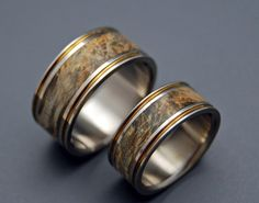 wood wedding band w/ bronze