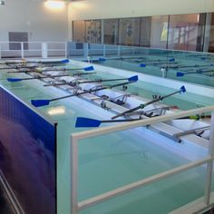 Indoor rowing tanks at the Devon Boathouse in Oklahoma City #rowing