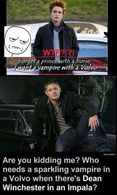 In an Impala. On an Impala. Beside an Impala. Just Dean and an Impala. That's all I want. Is that too much to ask for?
