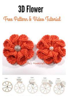 3D crochet Flower FREE Pattern and Video Tutorial