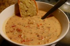 Tomato Basil Parmesan Soup- slow-cooker soup; served with crusty bread and it was a hit; think addition of shrimp would make it perfect.