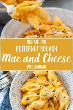 Instant Pot Butternut Squash Mac and Cheese is my new favorite fall comfort food It s warm gooey and never too cheesy This dinner is super easy to throw together and is ready in 30 minutes or less Butternut Squash Mac And Cheese, Roasted Butternut Squash Soup, Easy Pasta Recipes, Crockpot Recipes, Kid Recipes, Chicken Recipes, Cooking Recipes, Mac And Cheese Homemade, Vegans