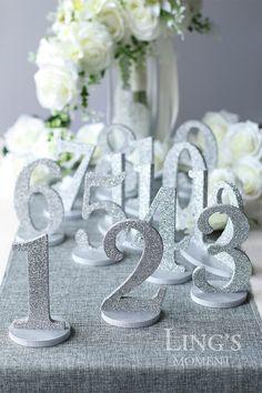 Table Numbers 1-25 Set Free Shipping-Glitter Wedding Table Numbers-Gold/Silver/Champagne Table Number Set-Wedding Table Decoration TNP-B