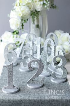 Table Numbers 1-25 Set Free Shipping-Glitter Wedding Table Numbers-Gold/Silver/Champagne Table Number Set-Wedding Table Decoration TNP-B