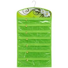 Green Floral Garden 40 Zipper Pockets Dual Sides Space-saving Hanging Earrings Necklace Bracelet Closet Jewelry Organizer Household Accessory Holder Storage Bag | Sparkly Things Jewelry