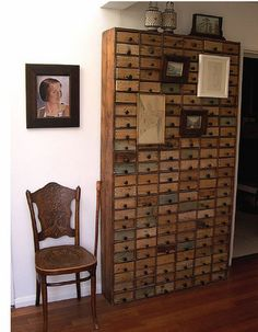 """Card catalog,"" by Mudrick, via Flickr.  Oh, I love this card-catalog-ish one!!  (Drawers are too shallow to have been that to begin with.)"